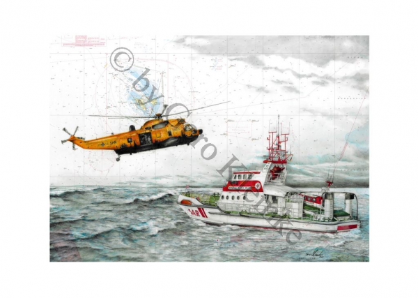 Kunstdruck des SK HERMANN RUDOLF MEYER mit Sea King
